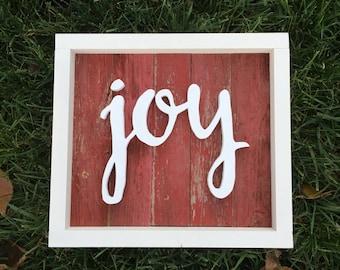 Joy Sign | Rustic Red Reclaimed Barnwood | Wood Cutout Sign | Reclaimed Wood Sign |