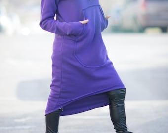 Sport dress, Winter Women Dress, Asymmetric Extravagant Purple Hooded Dress,  Maxi Top, Hooded Dress, Cotton Hooded Dress by EUG  - DR0707W3