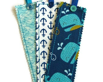 Whales and Anchors Bookmark Set, Fabric Bookmarks - Set of Three, Nautical Bookmarks, Reading Accessories, Gifts for Boys,