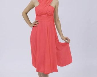 Coral Multiway Convertible Dress Short Bridesmaid / Prom Dress (12 Styles) by Matchimony