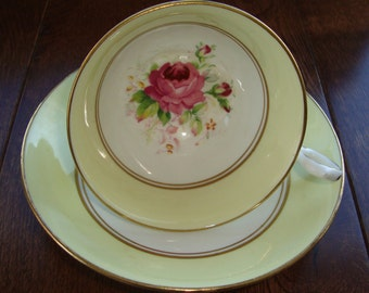"Old Royal ""Wetley Rose"" Yellow - Bone China Vintage Tea Cup and Saucer - Yellow Rim, Rose Center, Gold Trim"