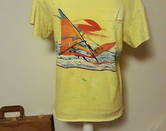 Vintage 80's Distressed Boat Neck Shirt