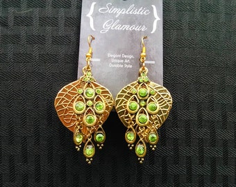 Gold Leaf and Light Green Crystal Dangle Earrings