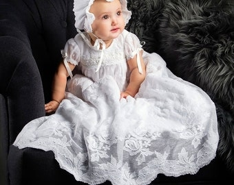 Louisa White Bonnet, Girls White Cotton Lace Bonnet