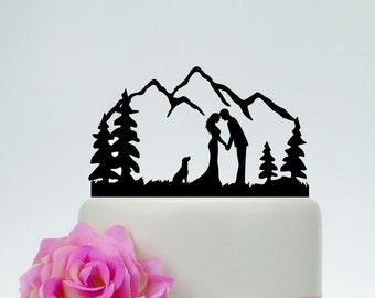 Outdoor Wedding Cake Topper,Bride and Groom, Dog Cake Topper,Custom Mountain Cake Topper,Personalized Cake Topper,Tree Cake Topper C172