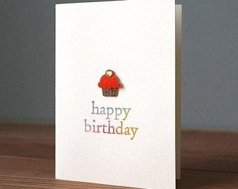 Handmade Red Cupcake Birthday Card