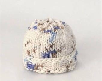 Baby Beanie Hand Knit, Baby Hat - White with Blue/Brown (Newborn)