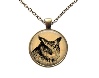Animal jewelry Owl necklace Bird pendant