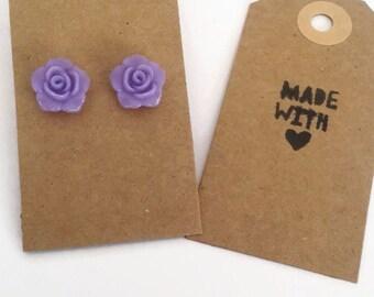 Lilac flower stud earrings