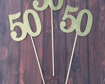 50 Centerpiece Picks, Glitter Fifty on a Stick, 50th Birthday Centerpiece Sticks, Fifty Sticks, Fifty Centerpiece Sticks (3 Count)