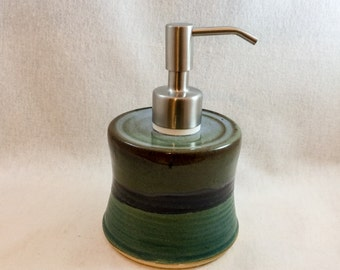 Stoneware pottery soap dispenser, lotion pump- green, blue, and black glaze- with stainless steel pump (holds 6 oz), ceramic soap pump