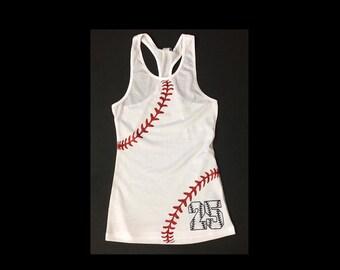 Youth Softball/Baseball Sister Shirt.Custom Number on Front.Baseball Tank.Little Sister. Girl Baseball Shirt. Youth Racerback Tank