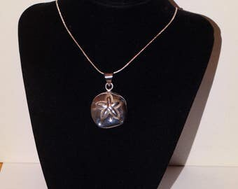 925 Sterling Silver Stamped Puffy Sand Dollar Necklace.