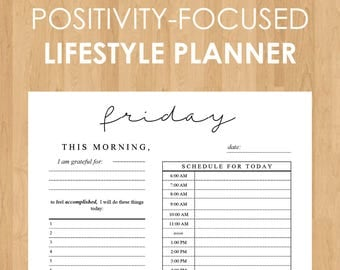 Daily Positivity Reflection Printable - Instant Download with Daily, Weekly, Monthly, and Yearly Reflection Sheets + Goals Tracker