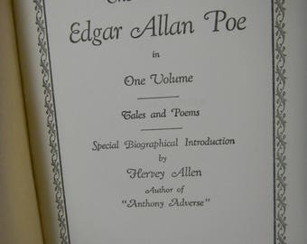 Vintage Book:  The Complete Works of Edgar Allan Poe, classic book,  The Raven,  American Literature, Edgar Allan Poe, book collector