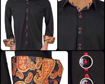 Black with Red and Gold Paisley Moisture Wicking Dress Shirt - Made in USA