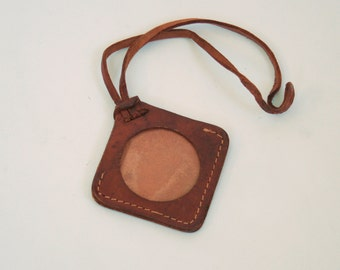 Vintage Brown Leather Luggage Tag - Diamond Shaped with Strap