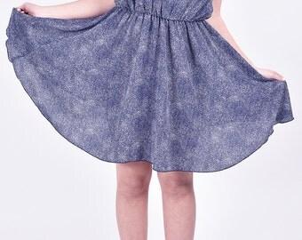 Navy blue mini dress summer short polka dots printed sundress dresses for women