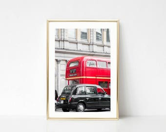 London Prints, Gallery Wall Art Decor, Red Photography, London Taxi, Double Decker Bus
