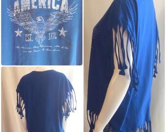 America Blue Fringe T-shirt