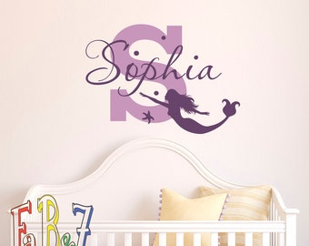 Girl Name Wall Decal- Mermaid Wall Decal Personalized Baby Girl Gift- Vinyl Wall Decal For Girls- Little Mermaid Decal Bedroom Decor M054