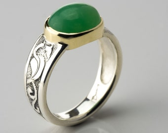 Chrysoprase silver ring, Silver and gold rings, apple green cabochon, silver green stone ring, green stone silver ring, chrysoprase ring