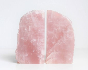 Pair of pink rose quartz bookends