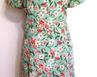 Tulip dress, M, spring dress, summer dress, 90's dress, green dress, sage green dress, mint dress, floral dress, shirtdress, short dress