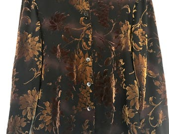 Brown floral Jaclyn Smith classic velvet top