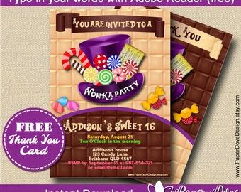 """Inspired Willy Wonka Invitation 5x7"""" 
