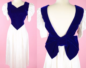 Vintage 80s, White & Purple Velvet, Prom Dress // 1980s, Retro, Party Dress, Womans Size Small