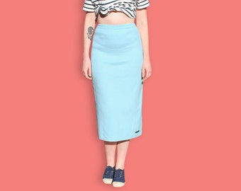 90s Maxi Skirt - Pastel Blue Sheath Skirt - Light Blue Preppy Nautical Skirt - Normcore Minimalist Column Skirt - Sportswear Casual Skirt