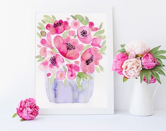 Watercolor Pink Peonies, Original Watercolour Flower Painting, Pink Flower Original Art, Flower Mother's Day Gift, Unique Gift for Her