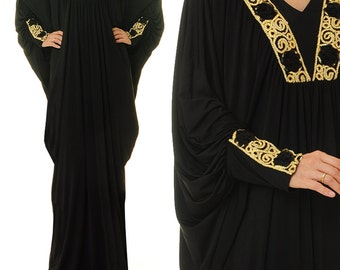 Black Kaftan Maxi Dress | Dubai Kaftan Dress | Dubai Abaya Maxi Dress Long Sleeve | Moroccan Kaftan | Maternity Kaftan Boho Kaftan 6377