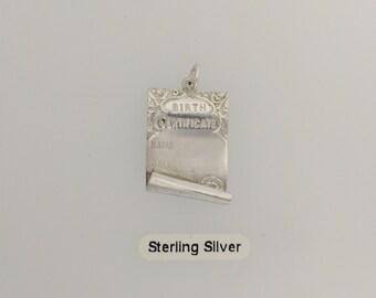 Birth Certificate - Sterling Silver Charm