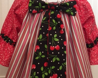 18-24 mos baby girl Peasant Dress, Red, Black, White striped with contrasting fabrics