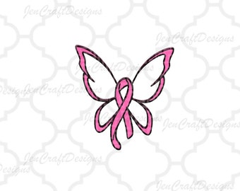 Breast Cancer Ribbon Butterfly SVG Cut File - SVG,  dxf, png, eps Cricut Design Space, Silhouette, Digital Cut Files