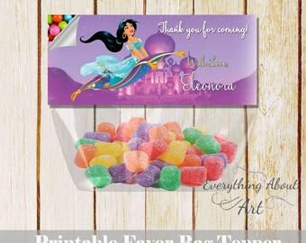 Princess Jasmine favor bag topper Jasmine birthday Princess Jasmine printable favor bag topper candies Jasmine party Thank you topper