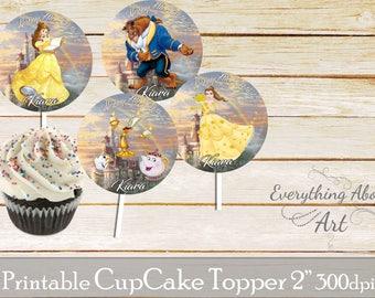 Princess Belle Cupcake toppers printable, Beauty and the beast birthday, Printable cupcake toppers, Birthday party supplies, Cupcake toppers