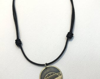 Fremont Bridge Cord Necklace, Made in Oregon, Bridges of Portland, Brass Etched Necklace, Adjustable Corded Necklace, Hand Forged Necklace