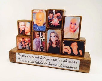 Photo Stacking Blocks - Mother's Day - Mum - Mother - No joy on earth brings greater pleasure / grandchildren / gift for mum / photo gift