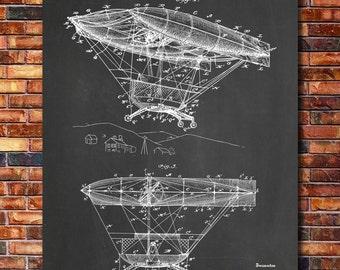 Airship Patent Print Art 1908