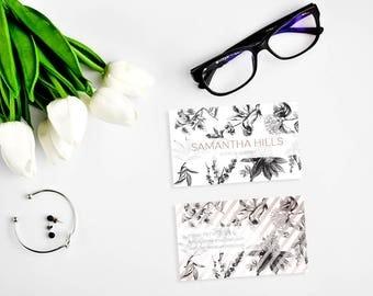 Rose Gold Card, Business Card Design, Botanical Card, Business Cards, Personal Card, Branding, Custom Business card, Modern Business Card