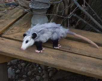 Realistic Needle Felted Opossum, Soft 100% Wool Sculpture