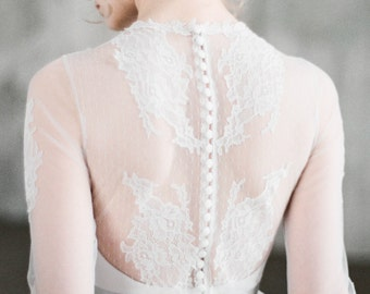 Maya - romantic long sleeve wedding dress, unique corset wedding gown with sheer back, chantilly lace, chiffon and tulle column skirt
