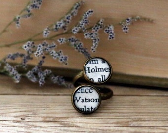 Sherlock Holmes double book page ring. Watson and Holmes.  Book Page Jewelry. Statement ring