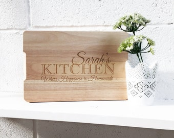"FREE UK DELIVERY - Personalised ""Kitchen...Where Happiness is Homemade"" Engraved Wooden Chopping Board - Ideal House Warming & Birthday Gift"