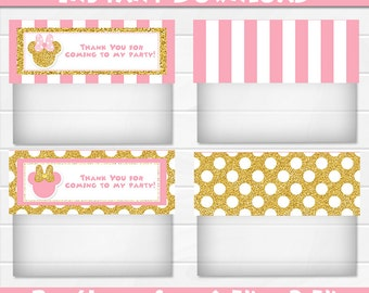 50% OFF SALE Treat Bag Topper Minnie Mouse Pink and Gold Treat bag toppers, Instant Download, pdf jpg