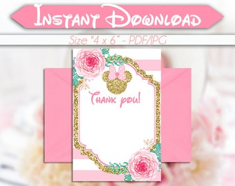 50% OFF SALE Thank you Card Minnie Mouse Pink Gold, Blank Card, Instant download, pdf jpg, Watercolor