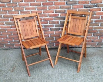 "HOLD for MARiON""   2 vintage wood folding chairs  Perfect for a wedding or event party. - OUTSTANDiNG Cond. - You will get BOTH chairs ."